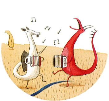 Dinosaurs playing accordians