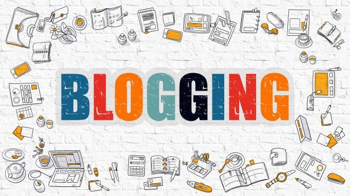 Blogging Concept. Multicolor on White Brickwall.