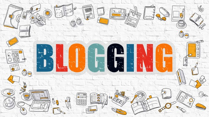 Blogging Concept. Multicolor on White Brickwall.
