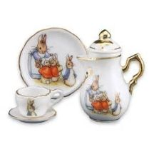 easter tea set three